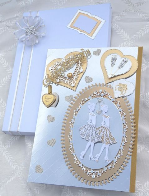 Gay Lesbian Wedding Day Card A4 Hand Made Boxed Keepsake & Personalised Heart